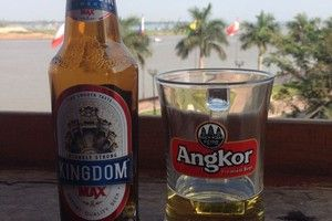 Angkor Beer bottle and glass