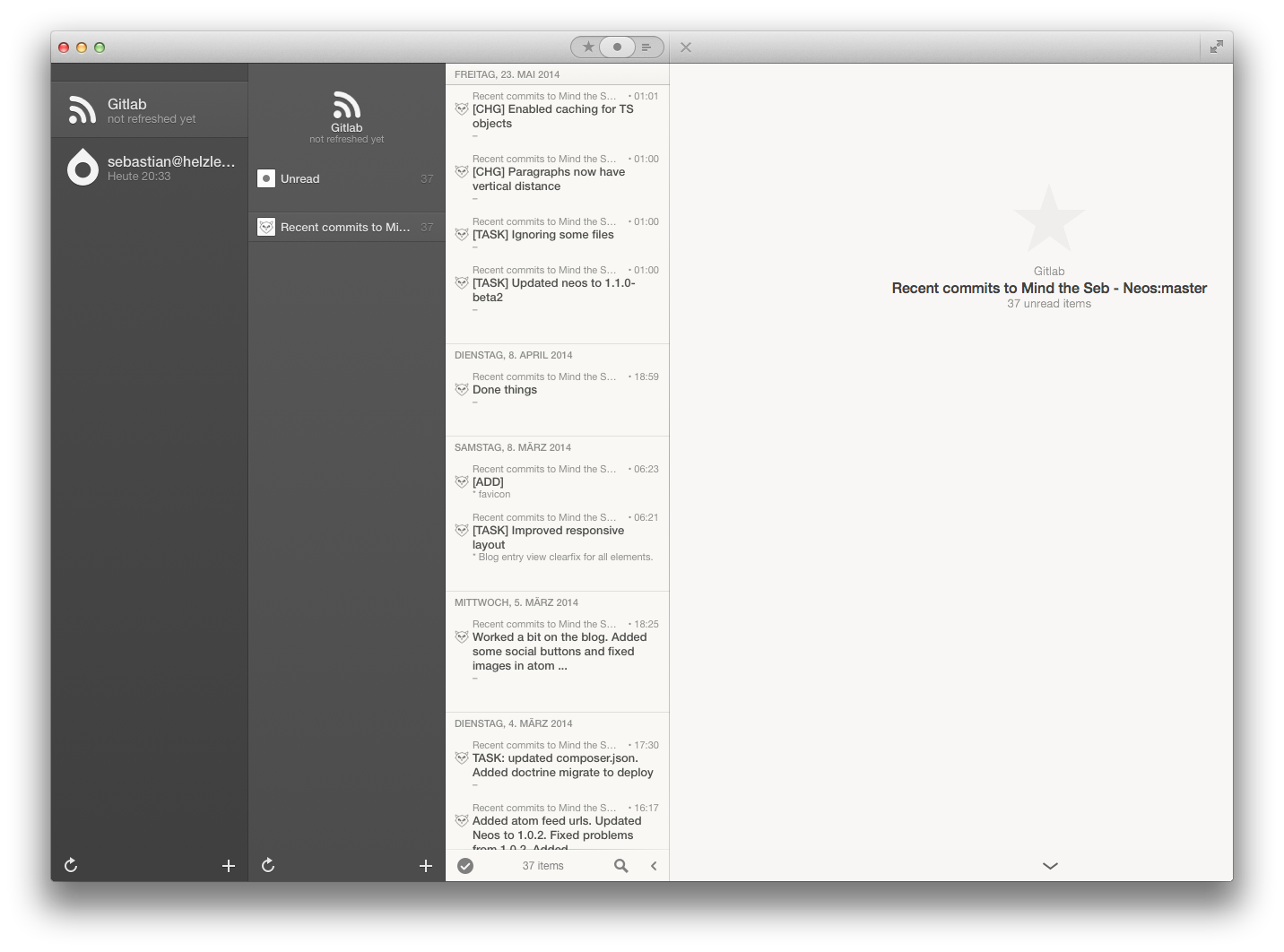 Interface of the app reeder
