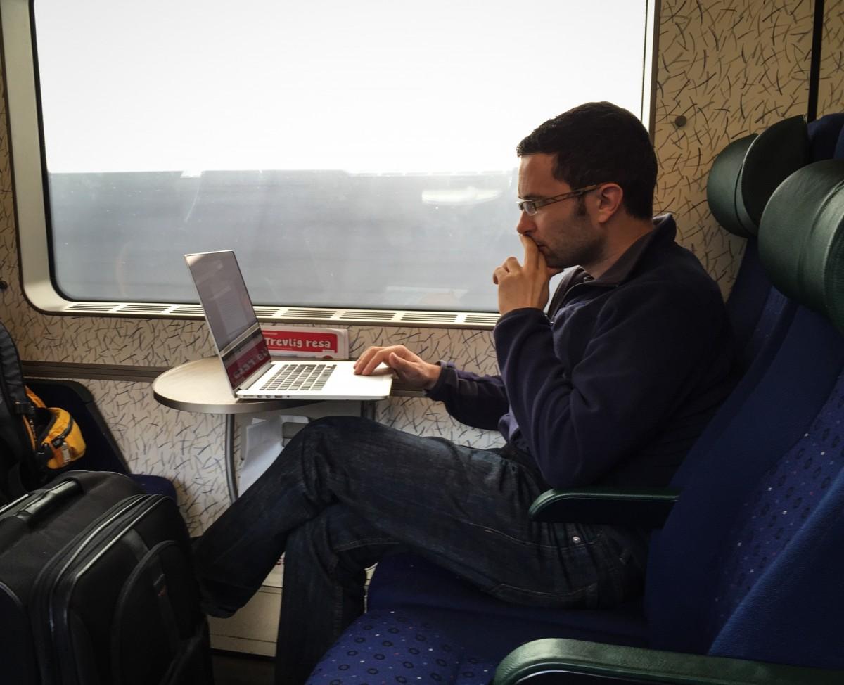 Daniel Lienert working in the train