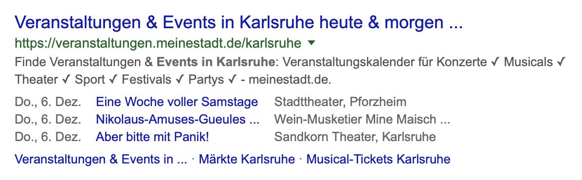 Liste von Ereignissen in Karlsruhe in den Google Suchergebnissen