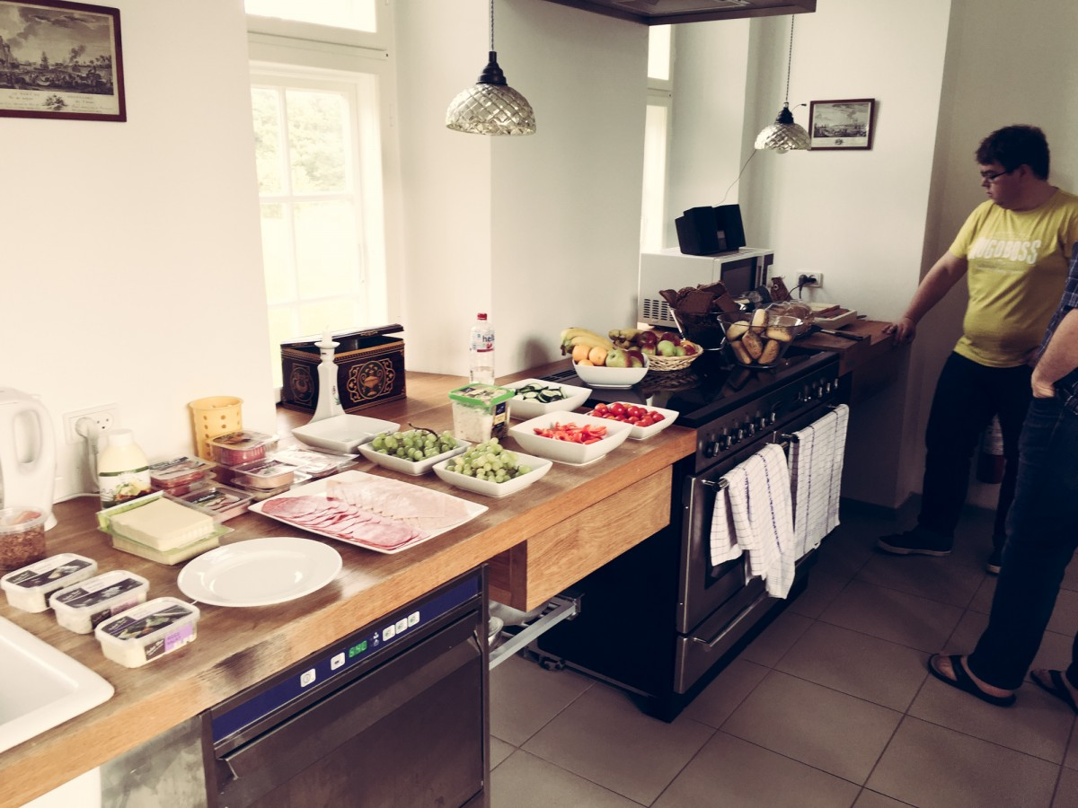 Kitchen with a lot of food