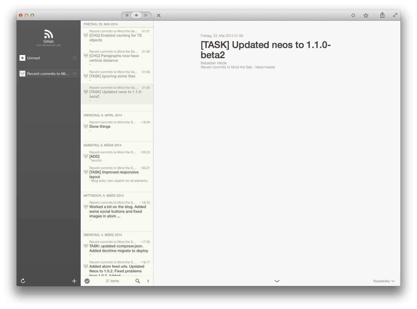 Gitlab feed in Reeder